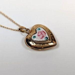 Cloisonne Heart Locket Necklace Gold